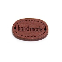 Деревянная пуговица Handmade Коричневая, 12х18 мм