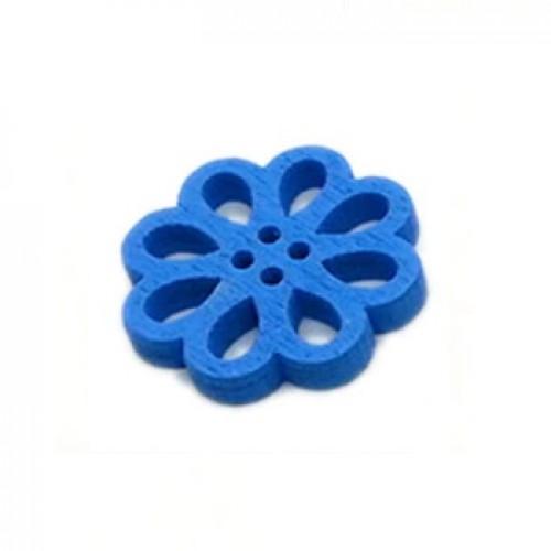 Деревянная пуговица Цветок синий