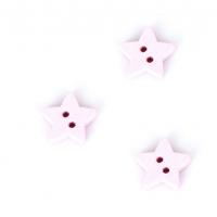 Деревянная пуговица Звездочка розовая, 13 мм