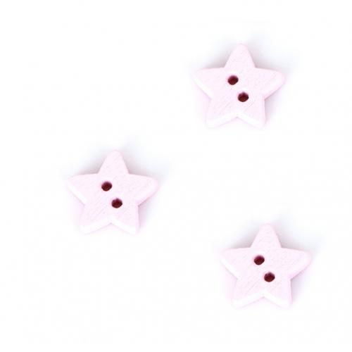 Деревянная пуговица Звездочка розовая 13 мм фото