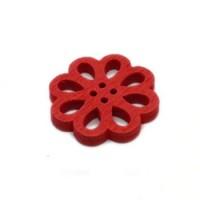 Деревянная пуговица Цветок красный