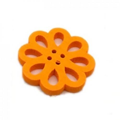 Деревянная пуговица Цветок оранжевый