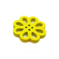 Деревянная пуговица Цветок желтый
