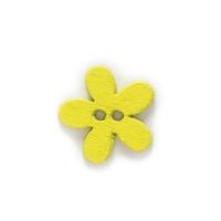 Деревянная пуговица Цветочек желтая, 15 мм