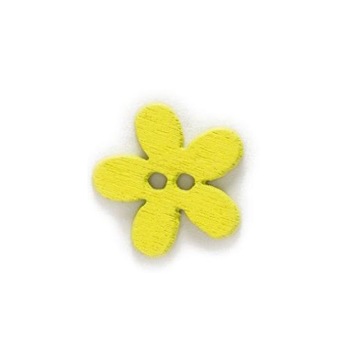 Деревянная пуговица Цветочек желтая фото