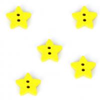 Деревянная пуговица Звездочка желтая, 13 мм