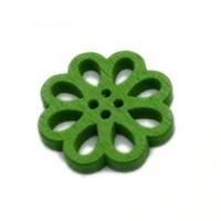 Деревянная пуговица Цветок зеленый