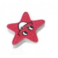 Деревянная пуговица Звезда красная