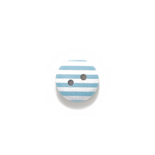 Пуговица деревянная с голубыми полосками