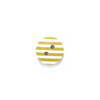 Пуговица деревянная с желтыми полосками