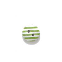 Пуговица деревянная с зелеными полосками