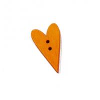 Пуговица деревянная Сердечко оранжевое