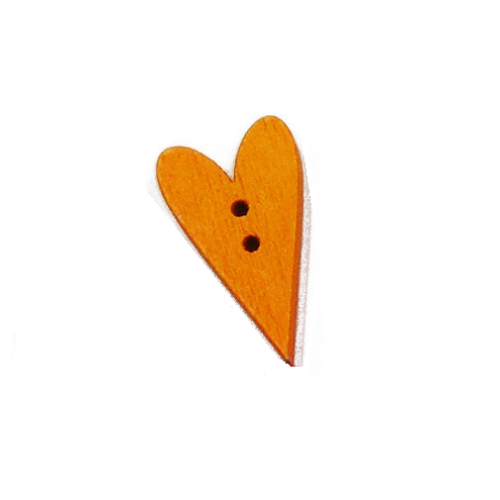 Пуговица деревянная Сердечко оранжевое, 2.5х1.5 см