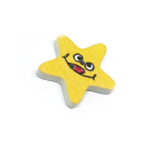 Деревянная пуговица Звезда желтая фото