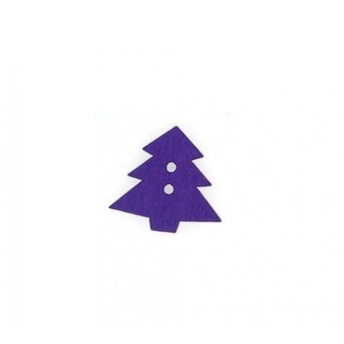 Пуговица деревянная Елка фиолетовая фото