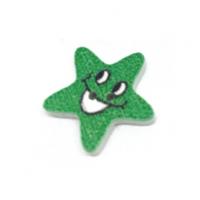 Деревянная пуговица Звезда зеленая