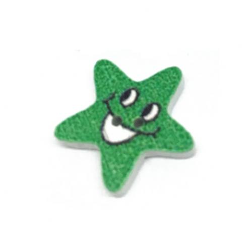 Деревянная пуговица Звезда зеленая фото