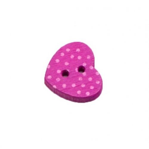 Деревянная пуговица Сердце в точку фиолетовое фото