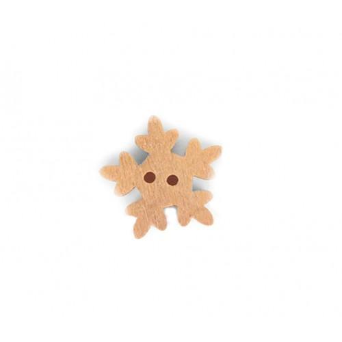 Деревянная пуговица Снежинка фото
