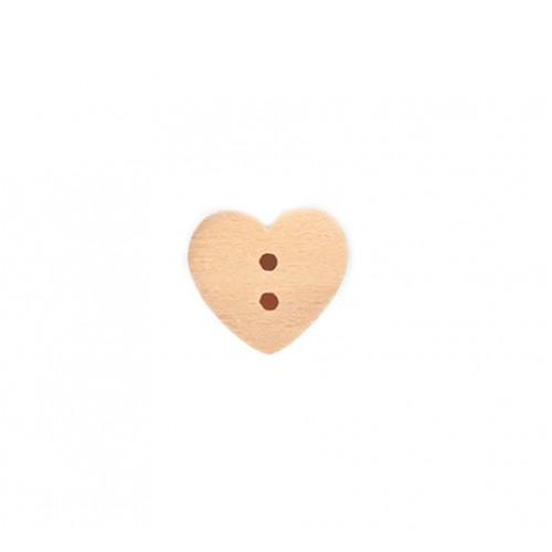 Деревянная пуговица Сердце 15 мм фото