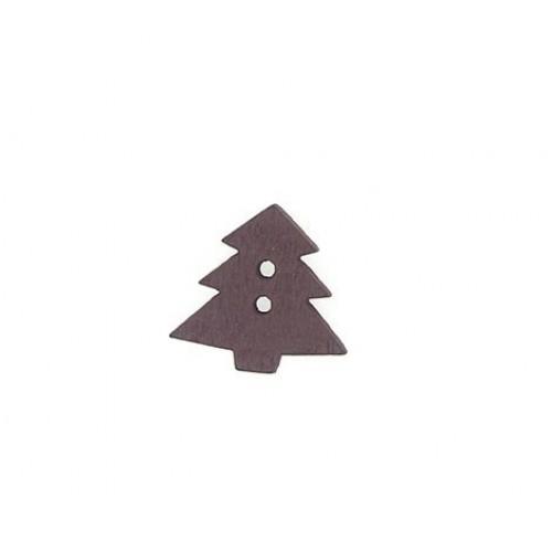 Пуговица деревянная Елка коричневая фото