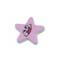 Деревянная пуговица Звезда розовая