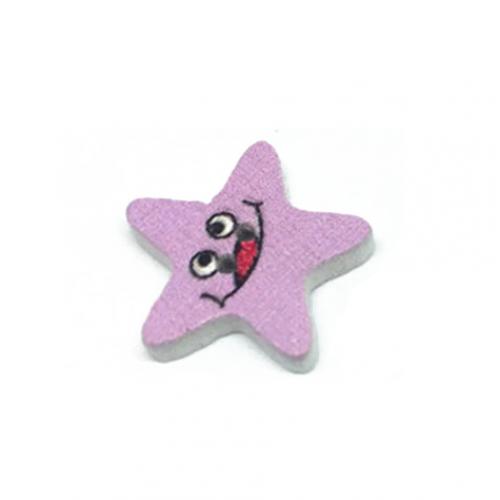 Деревянная пуговица Звезда розовая фото
