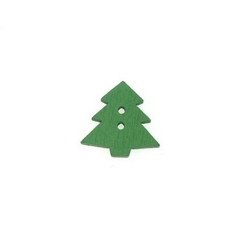 Пуговица деревянная Елка зеленая