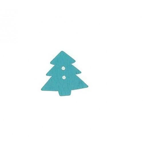 Пуговица деревянная Ёлка, голубая