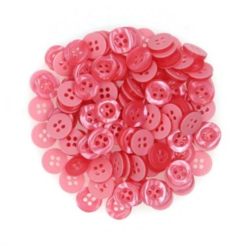 Пуговица пластиковая розовая, 10 мм