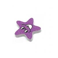 Деревянная пуговица Звезда фиолетовая