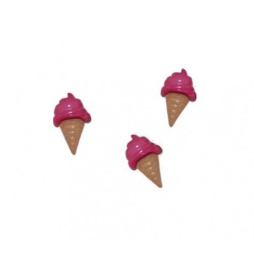 Пуговица Мороженое малиновое, 21*13 мм