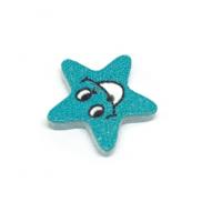 Деревянная пуговица Звезда голубая
