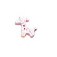 Пуговица деревянная Жираф светло-розовый
