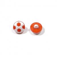 Пуговица Футбольный мяч оранжевый, 10 мм