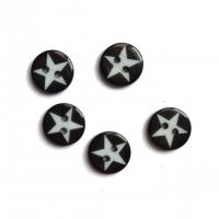 Пуговица декоративная Белая звезда на черном, 12 мм