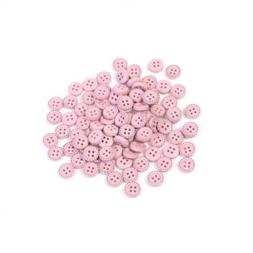 Деревянная пуговица розовая с окантовкой , 10 мм