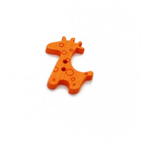 Пуговица деревянная Жираф оранжевый