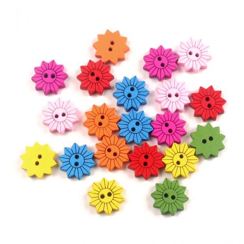 Пуговицы деревянные цветы, ассорти, 10 шт
