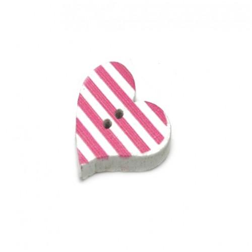 Деревянная пуговица Сердце белое с розовыми полосками фото