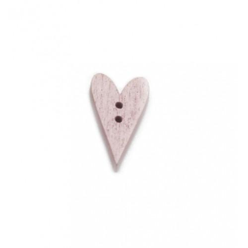 Пуговица деревянная Сердечко светло-розовое,  2.5х1.5 см