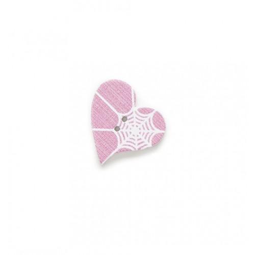 Деревянная пуговица Сердце розовое с паутиной, фото