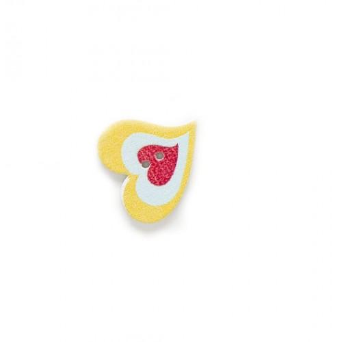 Деревянная пуговица три сердца в одном №1, фото