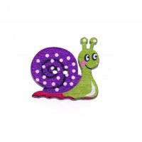 Пуговица деревянная Улитка Зелено -фиолетовая