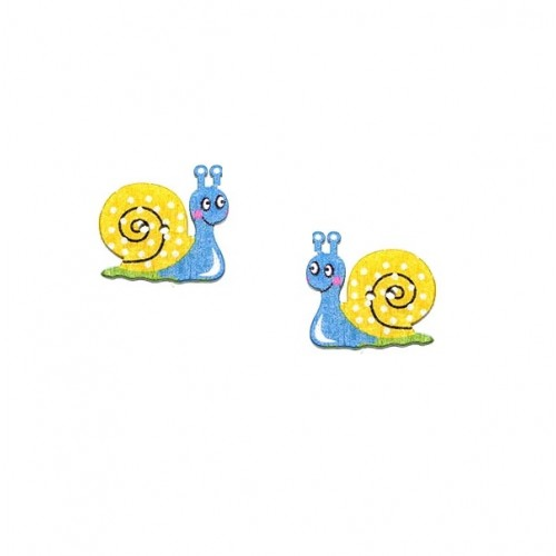 Пуговица деревянная Улитка Желто-голубая