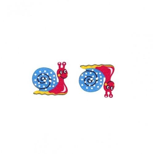 Пуговица деревянная Улитка Красно-голубая