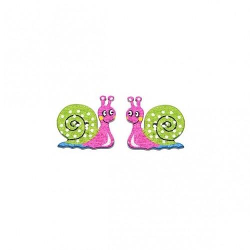 Пуговица деревянная Улитка Розово-зеленая