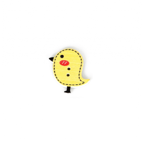Деревянная пуговица Птенчик желтый