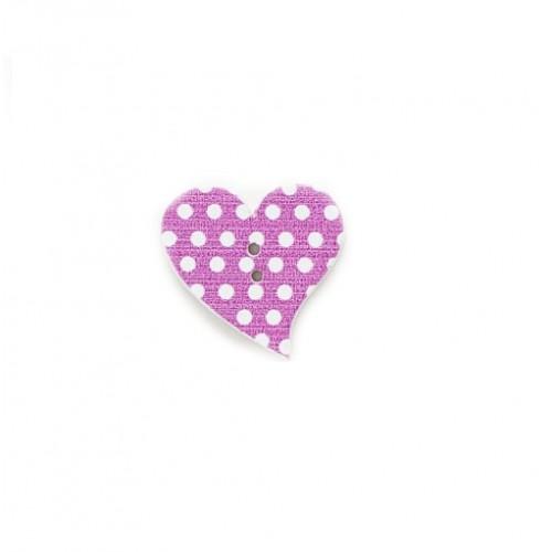 Деревянная пуговица Сердце фиолетовое с белыми точками, фото
