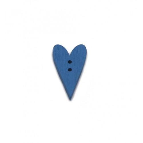 Пуговица деревянная Сердечко синее фото